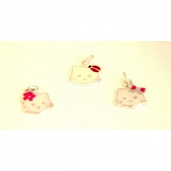 PENDENTE IN ARGENTO HELLO KITTY SMALTATA